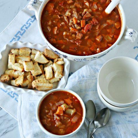Red Cabbage Kielbasa & White Bean Soup