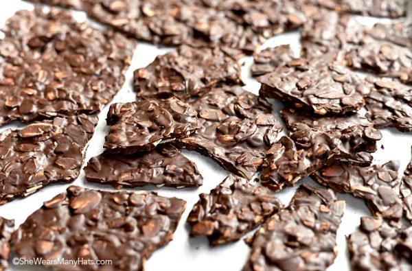 Dark Chocolate Toasted Almond Bark by She Wears Many Hats