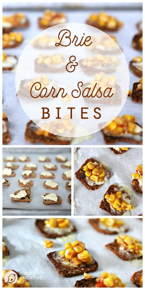 Brie and Corn Salsa Bites | Easy finger food appetizers for potlucks. Easy game day and super bowl food. Party food recipes found on TodaysCreativeLife.com