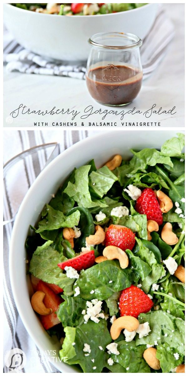 Strawberry Gorgonzola Green Salad with Cashews | Topped with homemade vinaigrette, loaded with spinach, romaine and Flavor! TodaysCreativeLife.com