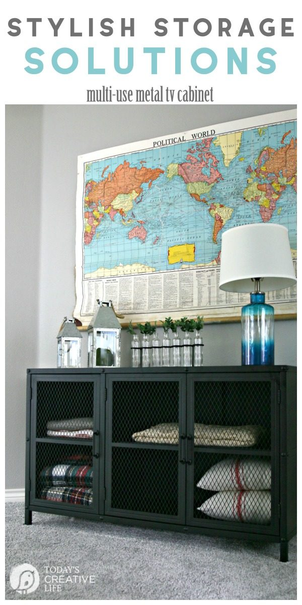 Stylish Storage Solutions | Industrial Metal TV Cabinet doubles as stylish storage | Organize your space | Organized Linen Closet | Create more Storage ideas | TodaysCreativeLIfe.com