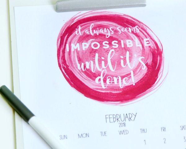 Inspirational Free Printable 2018 Calendar
