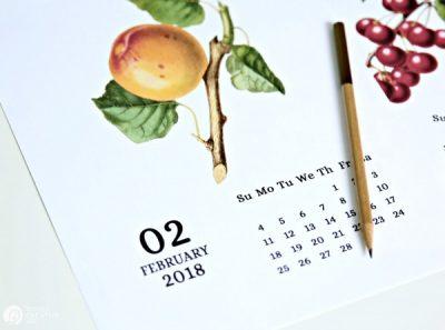 Vintage Fruit 2018 Printable Calendar from TodaysCreativeLife.com