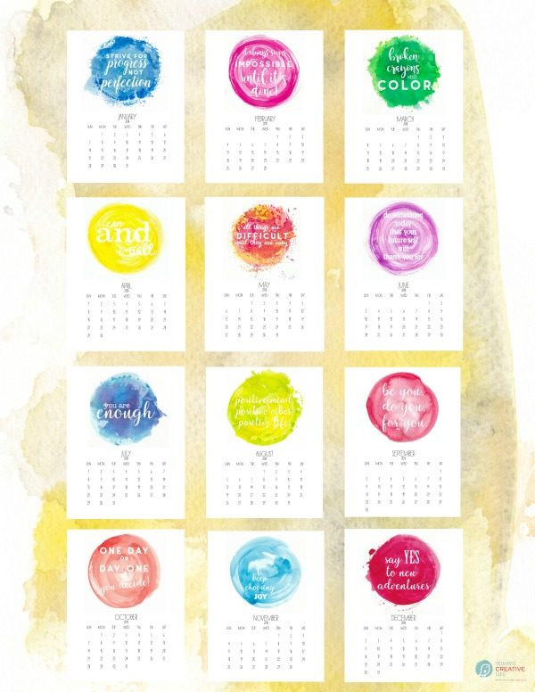 Inspirational Free Printable 2018 Calendar | Stylish Watercolor with motivational quotes for every month of the year. Grab yours from TodaysCreativeLife.com