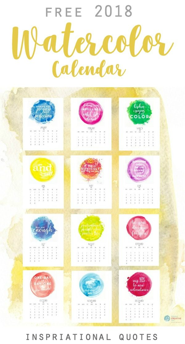 Calendar Quotes For Each Month 2018 : Inspirational free printable calendar today s