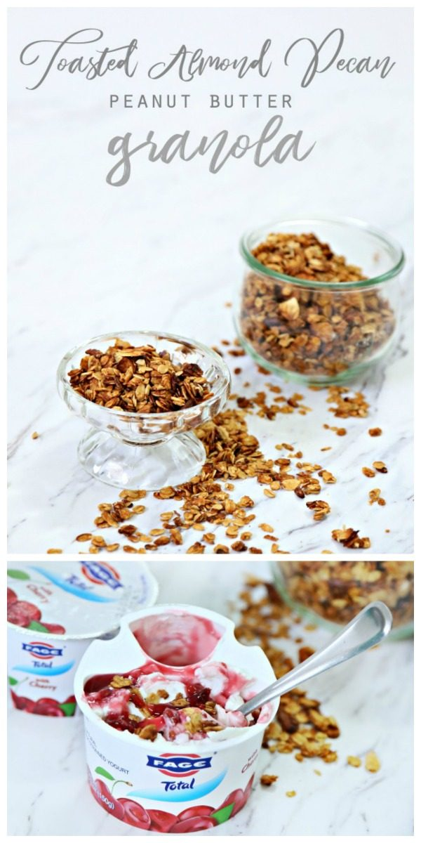 Toasted Almond Pecan Peanut Butter Granola with FAGE Total Split Cup Yogurt | homemade easy to make granola | TodaysCreativeLife.com