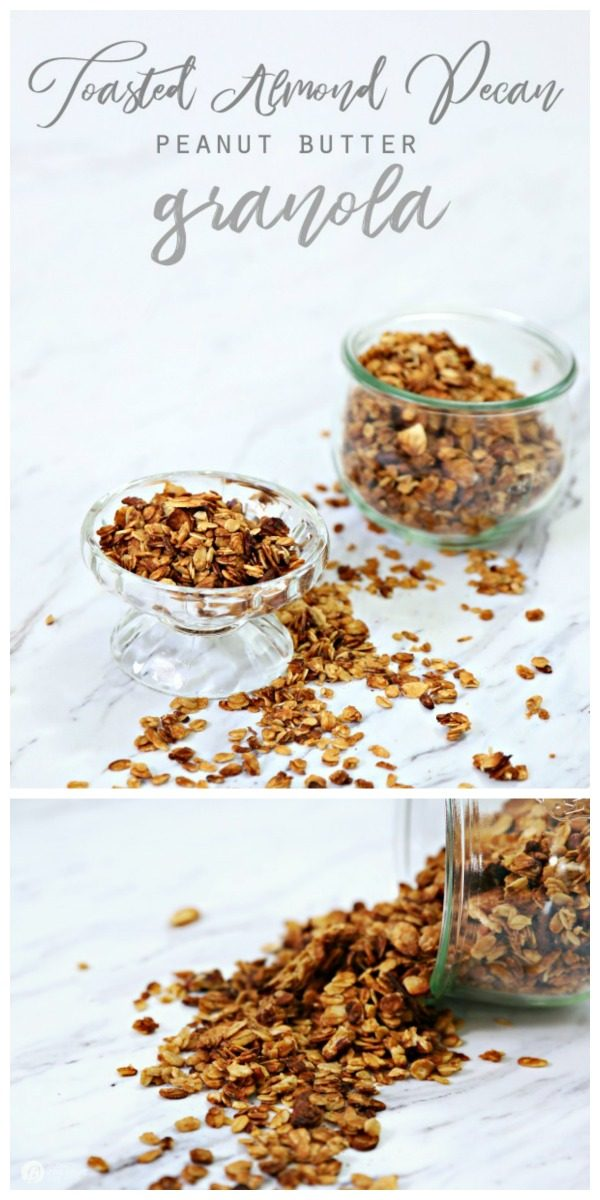 Photo collage of granola in glass jars.