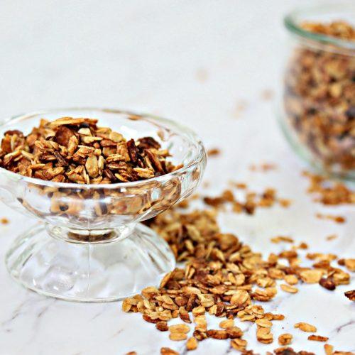 Toasted Almond Pecan Peanut Butter Granola   homemade easy to make granola   TodaysCreativeLife.com