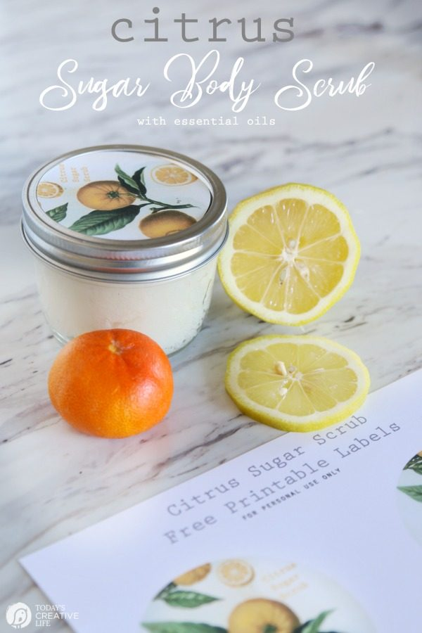 DIY Sugar Body Scrub with essential oils | Made with lemon and orange citrus oils for a fresh scent | Homemade beauty products | Body Scrub Recipe | Coconut oil Body Scrub | TodaysCreativeLife.com