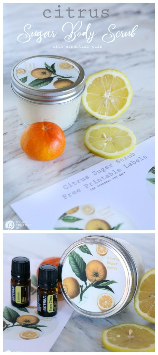 DIY Sugar Body Scrub with essential oils | Made with lemon and orange citrus oils for a fresh scent | Homemade beauty products | Body Scrub Recipe | Coconut oil Body Scrub | Free Printable Botanical Labels | TodaysCreativeLife.com