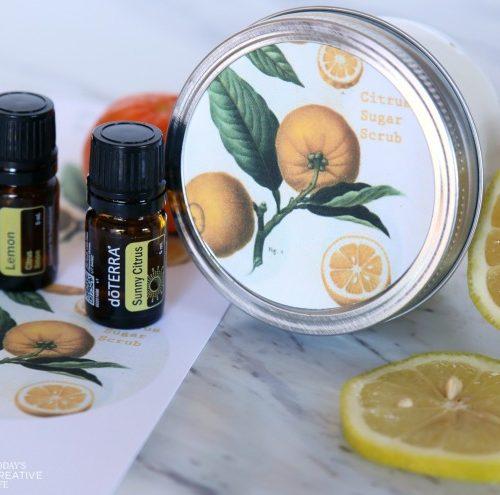 DIY Sugar Body Scrub with essential oils   Made with lemon and orange citrus oils for a fresh scent   Homemade beauty products   Body Scrub Recipe   Coconut oil Body Scrub   TodaysCreativeLife.com