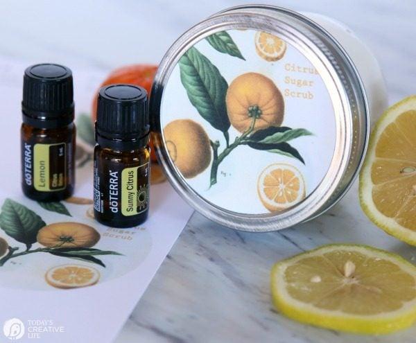 DIY Sugar Body Scrub with essential oils | Made with lemon and orange citrus oils for a fresh scent | Homemade beauty products | Body Scrub Recipe | Coconut oil Body Scrub | TodaysCreativeLife.com