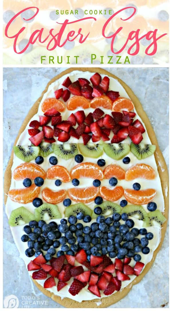 Egg shaped sugar cookie with fruit.