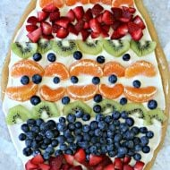 Sugar Cookie Easter Egg Fruit Pizza | Easy to make Easter treat. Cream Cheese frosting topped with your favorite fruits | Colorful Spring Dessert Ideas | TodaysCreativeLife.com