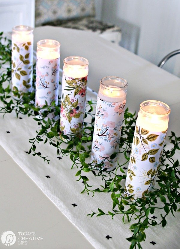DIY Paper Wrapped Candles Centerpiece