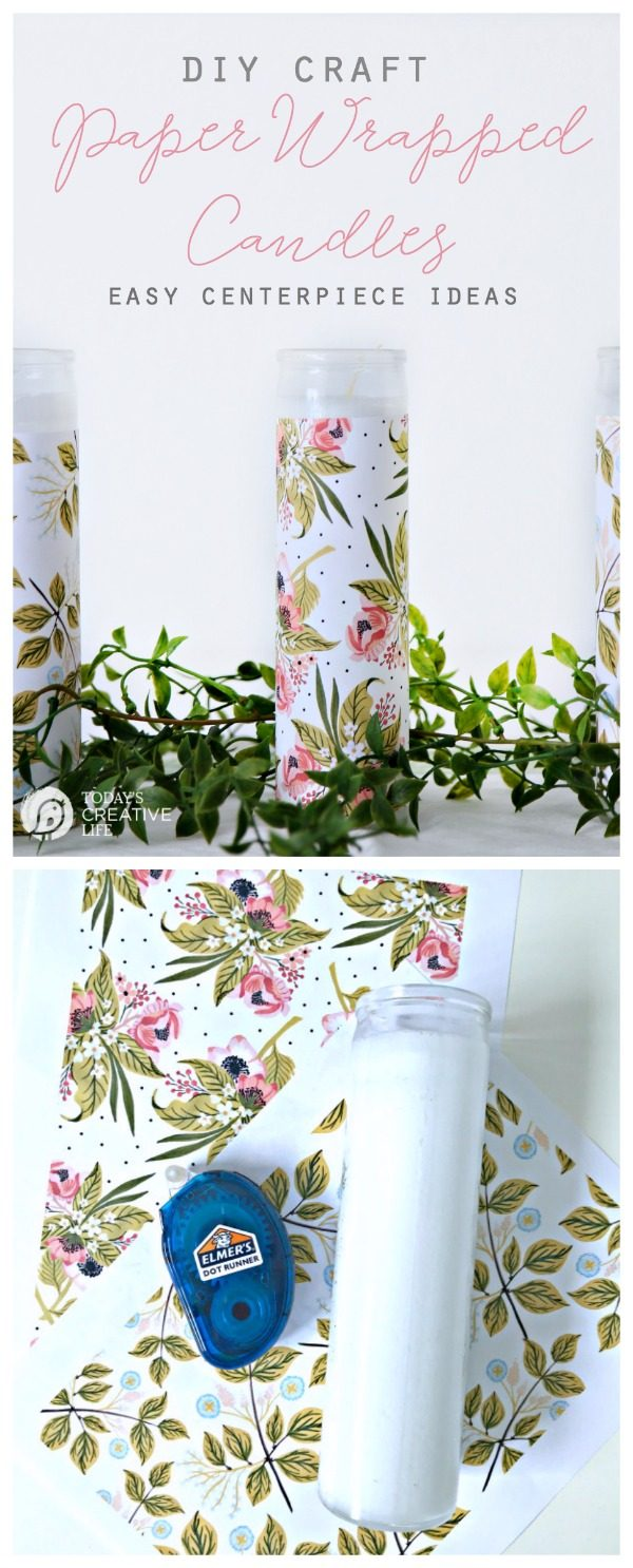 DIY Paper Wrapped Candles Centerpiece | Easy DIY Craft | Home Decor on a budget | Dollar Store Candles | Easy Decorating | TodaysCreativeLife.com