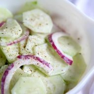 Sour Cream Cucumber and Onion Salad