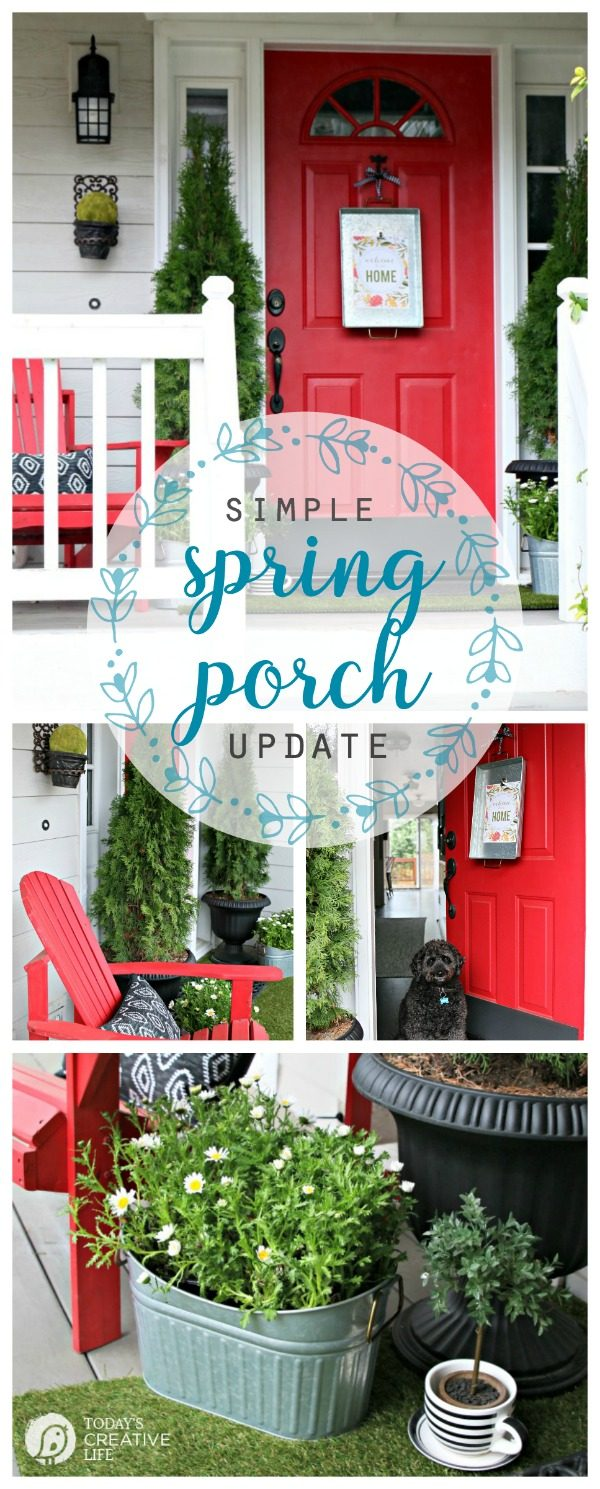 Simple Porch Decorating for Spring | Decorate your Front Porch | DIY Decorating | Budget Friendly Decor | Porch decor ideas | TodaysCreativeLife.com #BHGLivebetter #ad