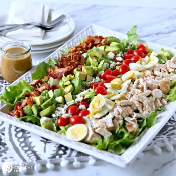Cobb Salad Recipe | Easy to make Cobb Salad | Chicken, Hard Boiled Eggs, Tomatoes, Bleu Cheese, Avocado, Bacon and Lettuce | Easy Fresh Dinner Ideas | TodaysCreativeLife.com