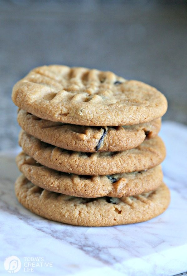 stack of 4 Ingredient Peanut Butter Cookies