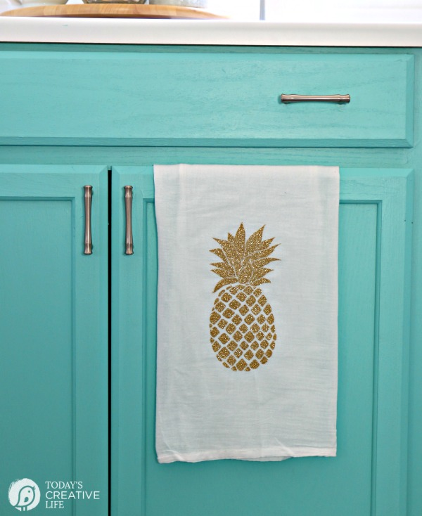 Glittered Pineapple Dishtowel