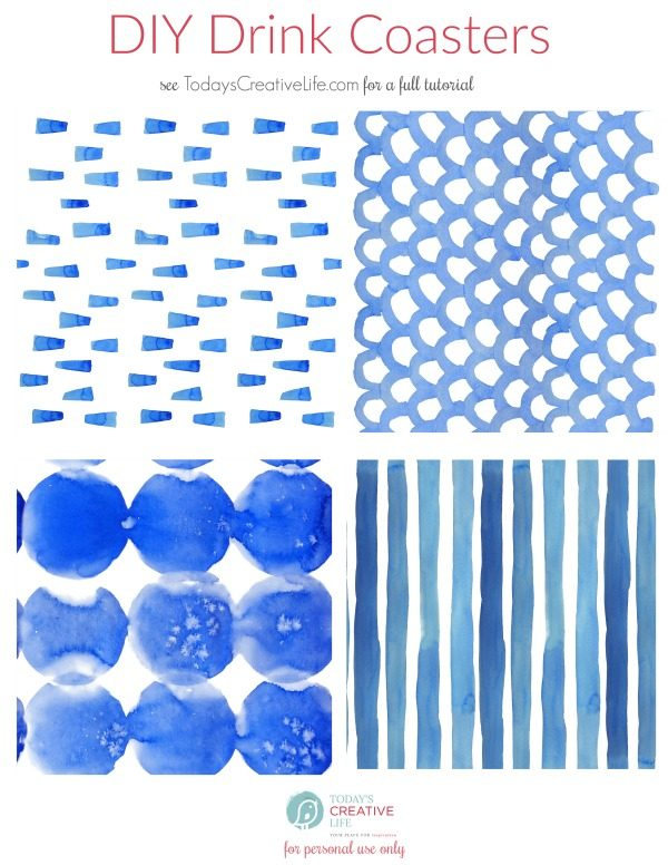 DIY Drink Coasters Shibori Printed Papers | TodaysCreativeLife.com