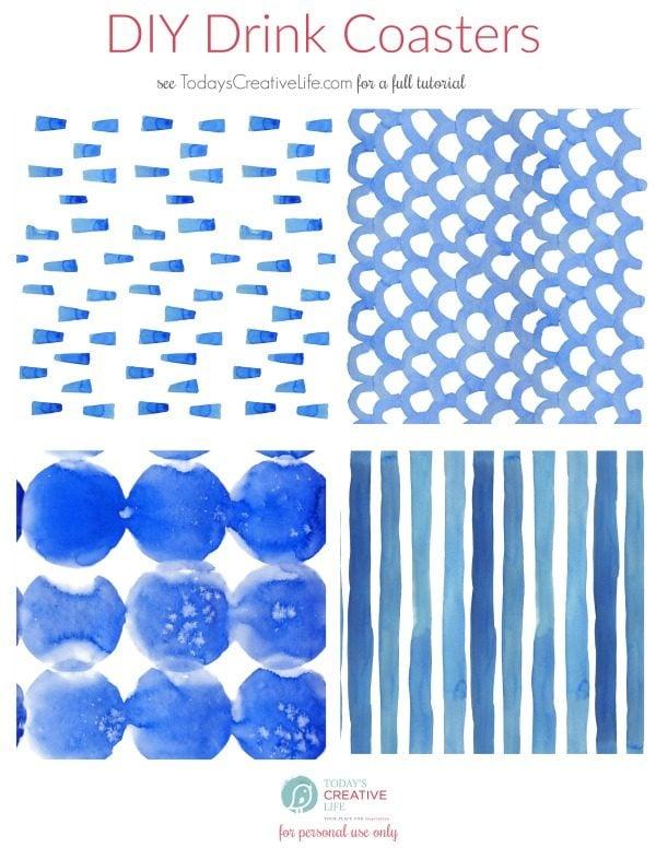 DIY Drink Coasters Shibori Printed Papers | TodaysCreativeLife.com
