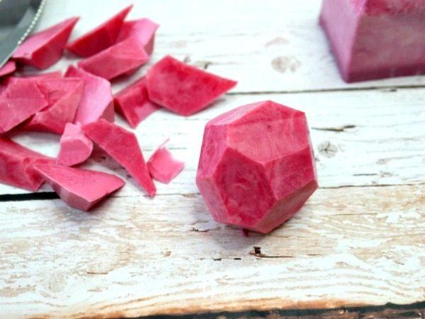 Handmade Gemstone Shaped Soap | How to Make Soap | DIY Soap Recipes | Shaped Soap Ideas | Pink Soap. Cutting shapes | EverythingEtsy.com for TodaysCreativeLife.com