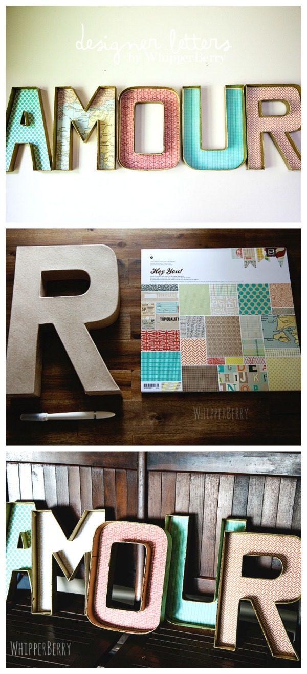 DIY Designer Cardboard Letters | Marquee Letters | DIY Crafts | DIY Home Decor | Wall Decor | Paper Mache Letter Craft | Whipperberry for TodaysCreativeLife.com