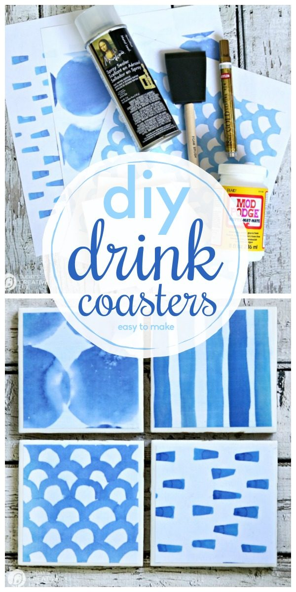 DIY Drink Coasters | Free Printable Shibori Designed paper | DIY Craft | Mod Podge Crafts | Decoupaged Tile Coasters | Tutorial | TodaysCreativeLife.com