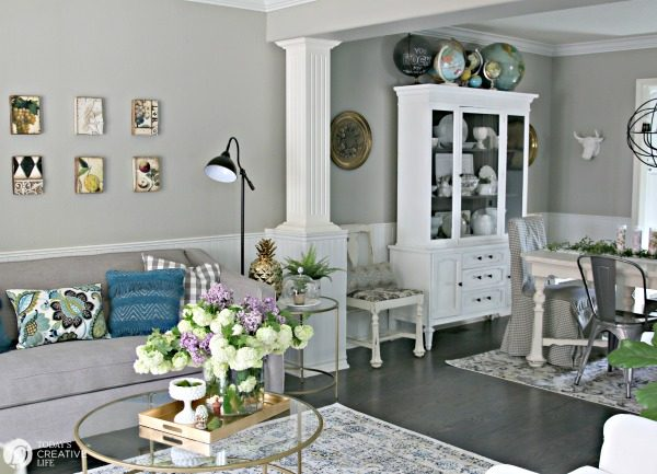 Living Room Ideas on a Budget | inexpensive budget friendly decorating ideas | Easy decorating ideas | Tables for living room | Adding color to your decor | TodaysCreativeLIfe.com