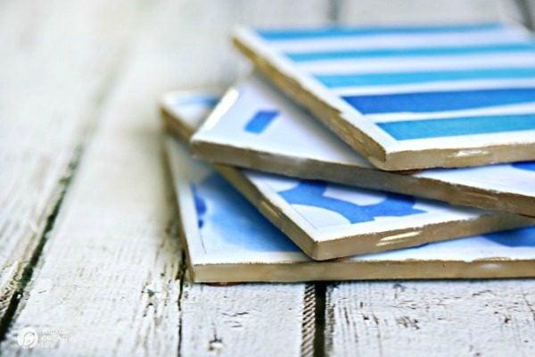 DIY Drink Coasters | 4 inch ceramic tiles with Mod Podge |TodaysCreativelife.com