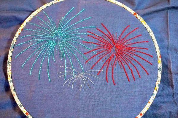 Fireworks Hoop Art | Embroidery Pattern | Fourth of July Crafts | Cricut Craft Ideas | TodaysCreativeLife.com