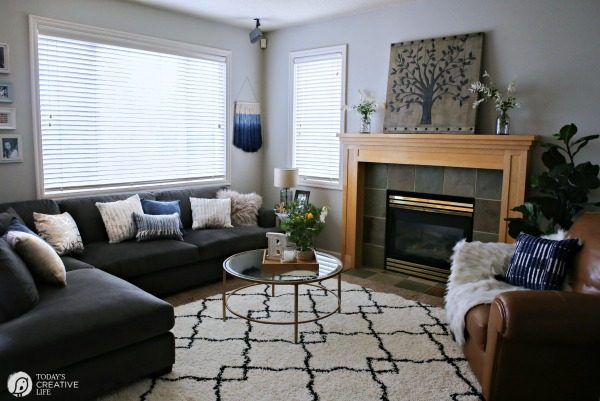Family Room Ideas on a Budget | BEFORE and after living room decorating ideas | Room makeover decor | redecorating your home on a budget | BHGLivebetter | TodaysCreativeLife.com