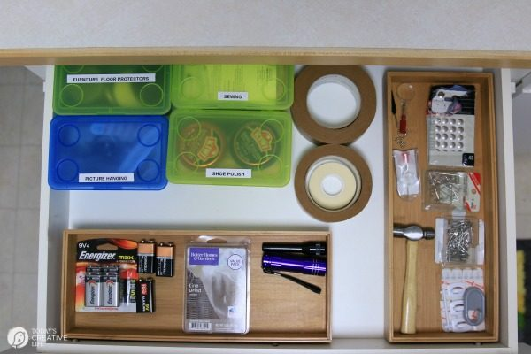 laundry room supplies in a drawer