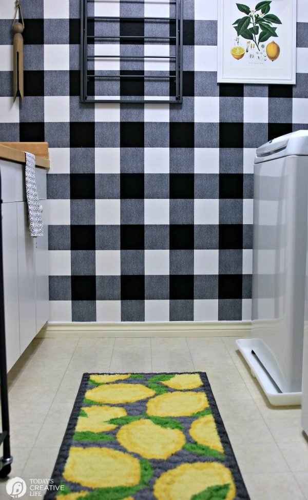 Black and white laundry room with a Farmhouse Makeover