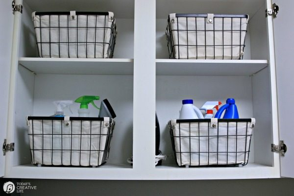 storage basket system for a laundry room makeover