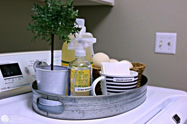 tray of laundry cleaning supplies