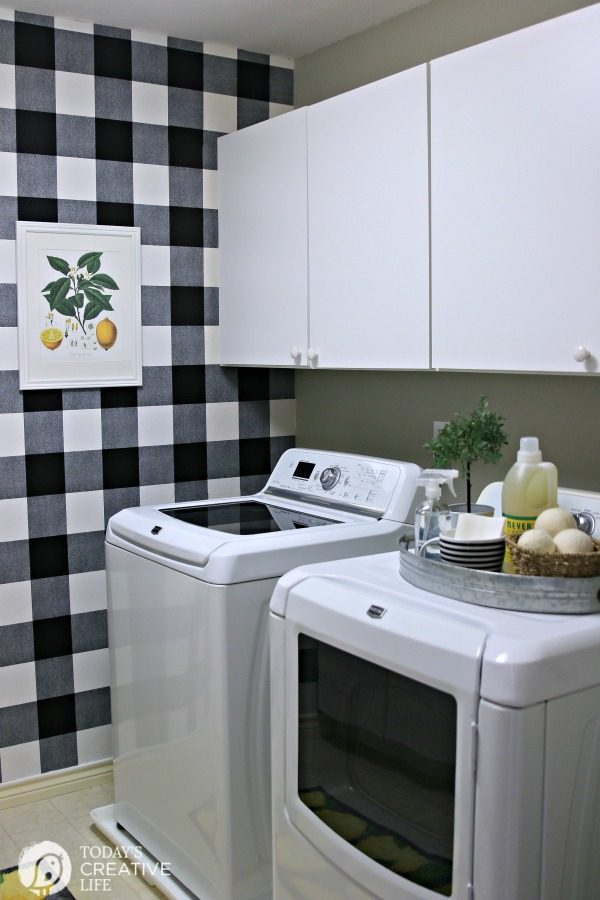 Laundry Room decorated in farmhouse style