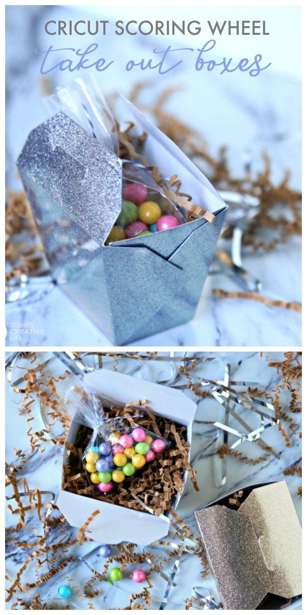 Cricut Scoring Wheel Take Out Boxes | DIY Gift Box | Paper Crafts | Cricut project ideas | Scoring Wheel | Sparkle Paper | TodaysCreativeLife.com #CricutMaker #CricutMade AD