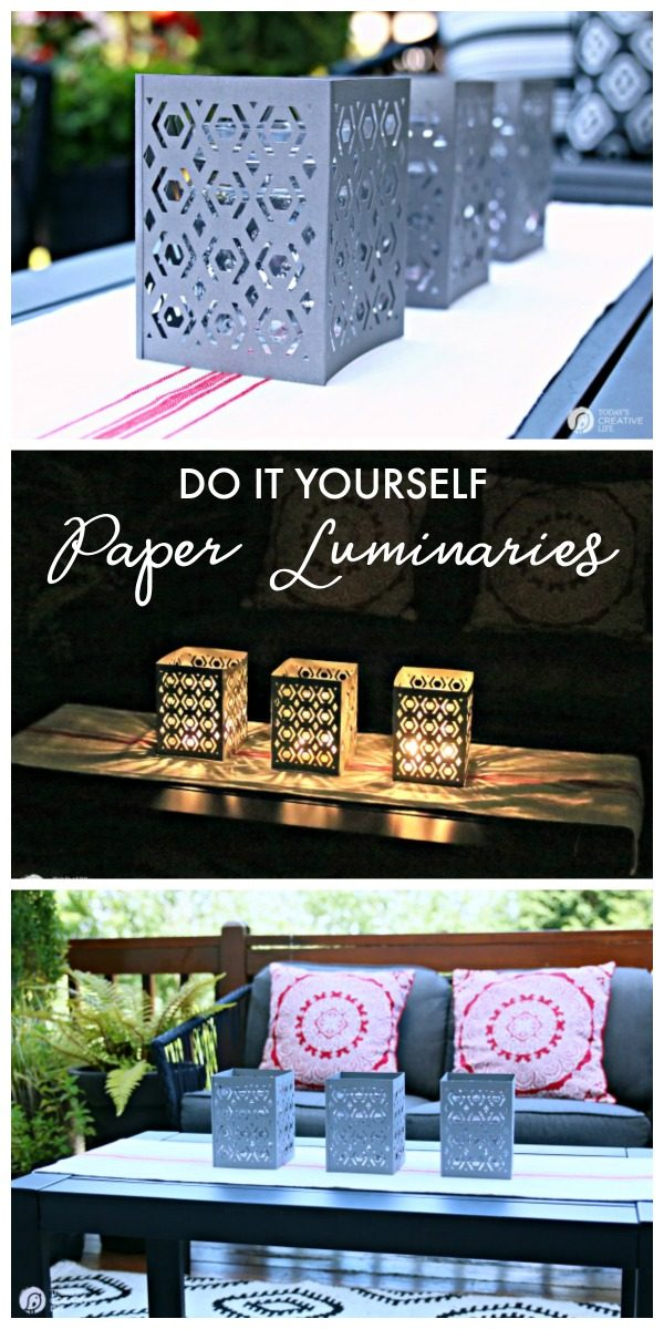 Cricut Scoring Wheel Paper Luminaries | DIY Craft Ideas | Cricut Maker Project Ideas | Scoring Wheel Cricut Maker Projects | How to Make Paper Lantern | TodaysCreativeLife.com