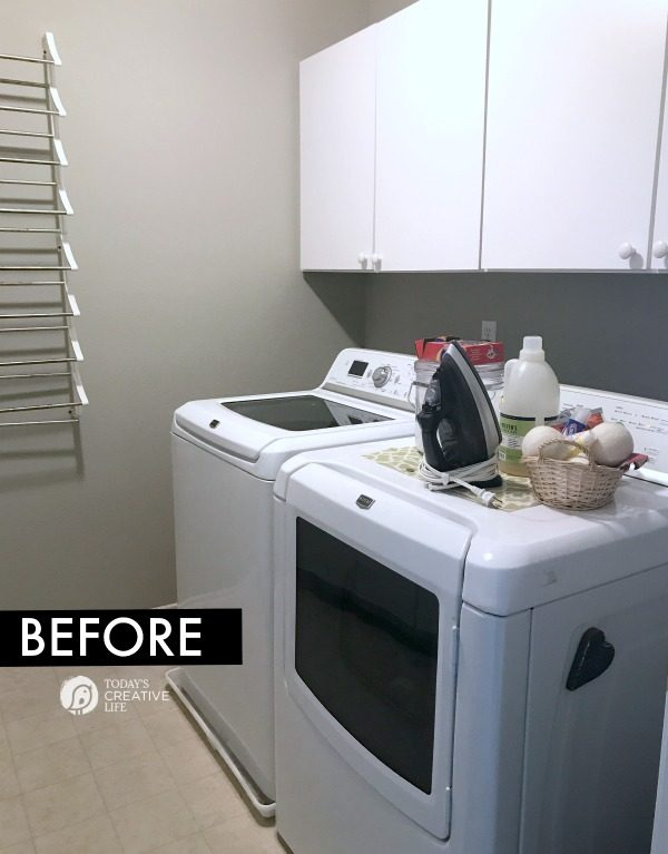 before photo of a laundry room makeover