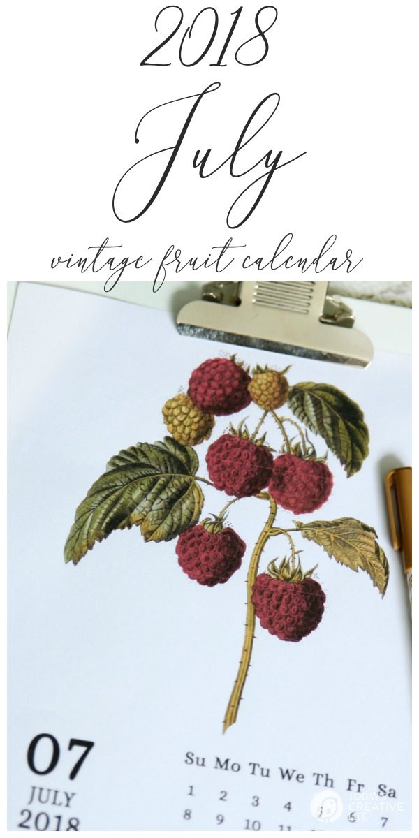 Printable July 2018 Calendar | Free Printable 2018 Calendar | Vintage Fruit | TodaysCreativeLife.com