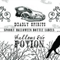 2 black and white halloween bottle labels with spooky writing and images
