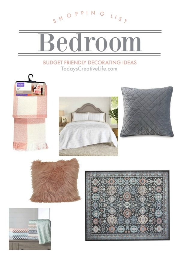 Budget Friendly Decorating Ideas for bedrooms | Room makeover shopping list. |