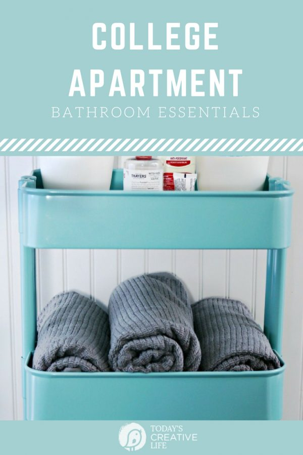 College Apartment Bathroom Essentials | Start with the basics for a well stocked college bathroom. Fluffy Towels, Stylish decor, all the toiletries and more. Free Printable Bathroom Essentials List. | Packing List for College | TodaysCreativeLife.com