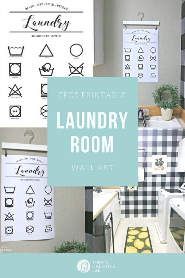 Printable Laundry Symbols Wall Art | Free Printable for the Laundry Room | Laundry Room Printables | Room Makeover | Laundry Instructions and directions | TodaysCreativeLife.com