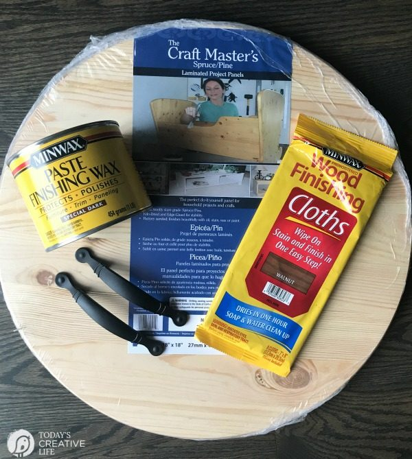 How to Make a Large DIY Wood Round Tray | Supplies for making a round tray.