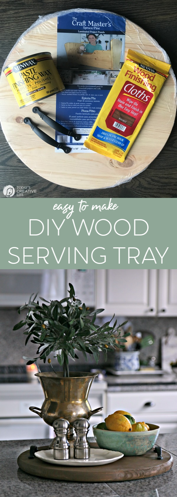 Diy Round Wood Serving Tray Today S Creative Life