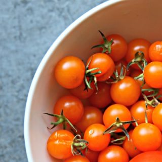 Slow Roasted Tomatoes | Whole Cherry Tomatoes | Yellow cherry tomatoes. Sweet Slow Roasted with olive oil and spices | TodaysCreativeLife.com